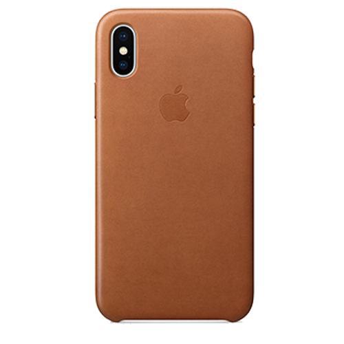 iPhone X 가죽 케이스 - 새들 브라운 (MQTA2FE/A)